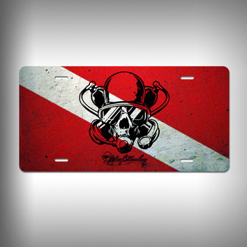 Diver Skull Custom License Plate / Vanity Plate with Custom Text and Graphics Aluminum