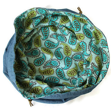 Girls Denim & Paisley Toy Bag Turquoise Green Brown Extra-Large Bag Home School Summer Travel Laundry Tote -- US Shipping Included