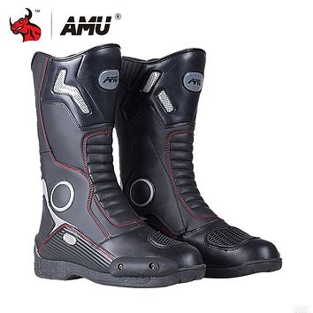 BOOTS MOTO Men's Motorcycle Boots Leather Motocross Men Moto Riding Shoes