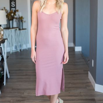 Simply Perfect Bodycon Dress- Dusty Rose