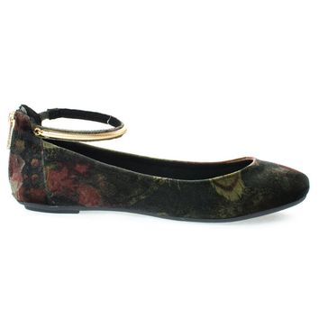 Chantel40M Black Multi By Bamboo, Round Toe Dress Flat w Oriental/Russian Print, Metal Ankle Strap