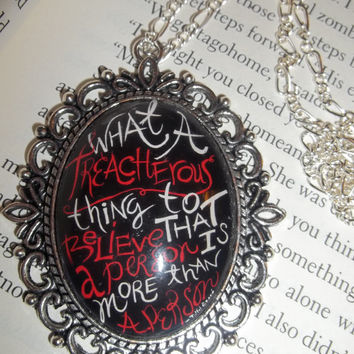 John Green's Paper Towns ''What a treacherous thing to believe that a person is more than a person'' Literary Quote Pendant Necklace