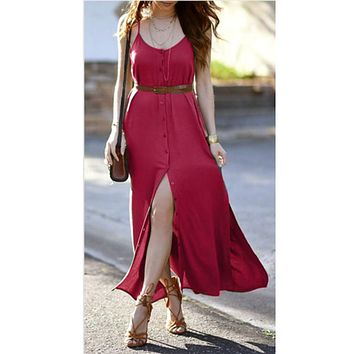 New Style Women Dress Summer Sleeveless Solid Button Party Boho Beach Long Maxi Dress Sexy Fashion Hot Sales Dresses Wolovey#25