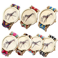 New Giraffe Pattern Weaved Rope Band Bracelet Quartz Dial Watch = 5987735041