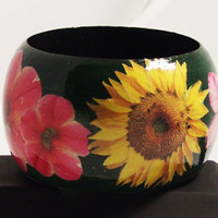Wooden Bangle - Big Bold Flowers Handmade Wooden Bangle Bracelet