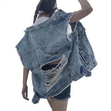 Sleeveless Female Vest Coat Ripped Hole Denim Jacket for Women Backless Tassel Jeans Jackets Casual Clothes