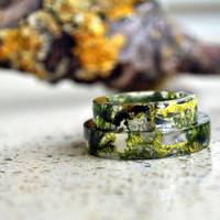 Terrarium jewelry, Real Moss Resin Ring,   Real flower ring, Botanical resin ring, Forest jewelry, Fairy ring Men Ring, Mens Jewelry, moss