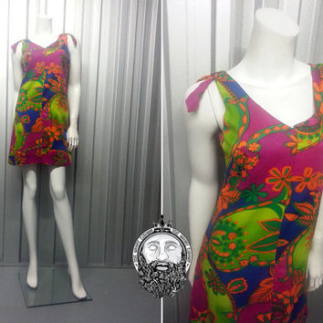 Vintage SAMBO 60s Mini Dress Psychedelic Print Scooter Mod Dollyrockers Shift Dress Paisley Print Dress Micro Dress Boho Chic 1960s Dress