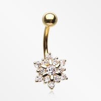 Golden Luscious Snow Flake Sparkle Belly Button Ring