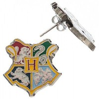 Harry Potter Deathly Hallows Hogwarts CREST Post Stud Earrings Cosplay Costume