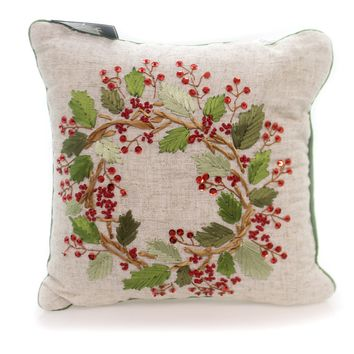 Christmas BERRY WREATH RIBBON PILLOW Fabric Accent Sequins 860452378G