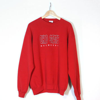 Ohio State University OSU Buckeyes Crewneck Sweatshirt | Unisex Size Large Shirt | Red