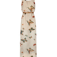 Cameo Rose Cream Butterfly Print Belted Maxi Dress