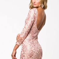 Brocade Sequin Bodycon Dress