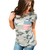 Camouflage American Flag Casual Shirt
