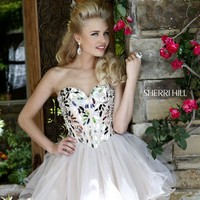 Sherri Hill 11131 Short Mirror Beaded Prom Dress