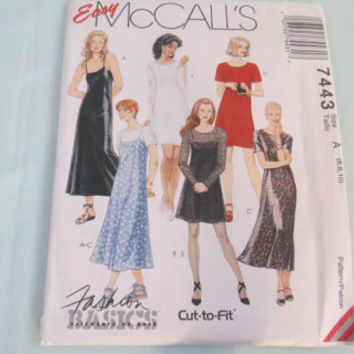 McCall's Easy cut to fit fashion basics size 6 8 10 pattern 7443 dress and slip dress in two lenghths