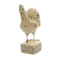 Jim Shore EARLY TO RISE Polyresin White Farmhouse Rooster 6003633