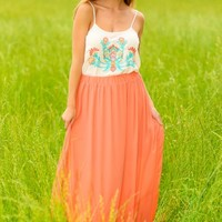 Can't Help But Cut In Maxi Skirt-Coral