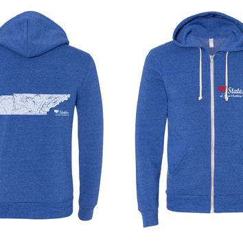 Tennessee Rivers and Lakes Zip Hoodie