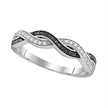 Sterling Silver Women's Round Black Color Enhanced Diamond Woven Band Ring 1/6 Cttw - FREE Shipping (US/CAN)