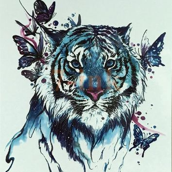 Waterproof Temporary Tattoo large size watercolor tiger butterfly water Transfer Fake Tattoo Flash tatto for women men