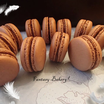 Chocolate Macarons French Macaroons Almond Cookies with Ganache 12 pc Gluten free