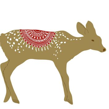 Colorful Contemporary Deer with a Knit Blanket Hand Embroidery Pattern