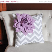 MOTHERS DAY SALE Lilac Corner Dahlia on Gray and White Zigzag Pillow 14 X 14 -Chevron Flower Pillow- Zig Zag Pillows