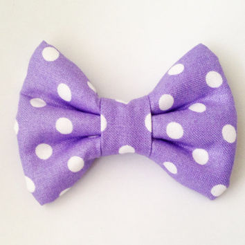 Lavender with White Dots Handmade Bow (Modern Handmade Bow / Bow Tie / or Headband)