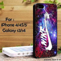 Nike Swosh Milk On Galaxy Nebula Space Design iPhone 4, iPhone 4s, iPhone 5, Samsung Galaxy S III, Samsung Galaxy S IV Case