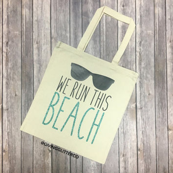 We Run This Beach // Glitter Tote Bag