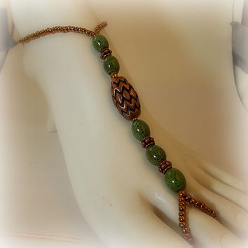 Slave Anklet Green Copper Barefoot Sandal Beaded One Size Fits All / Beach Gypsy Jewelry