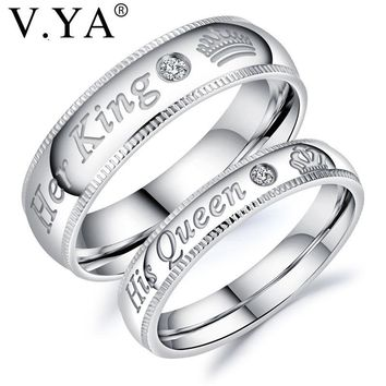 V.YA 2018 New Fashion DIY Couple Jewelry Her King and His Queen Stainless Steel Wedding Rings for Women Men Jewelry