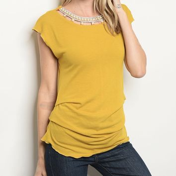 Mustard with Pearl Tunic Blouse