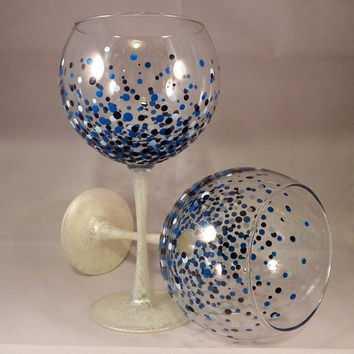 Hand Painted Polka-Dot Balloon Style Wine Glasses, Dishwasher Safe, Blue Polka Dot Glasses, Blue Hue Glasses, Wine Glass