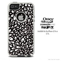 The Black Floral Sprout Skin For The iPhone 4-4s or 5-5s Otterbox Commuter Case