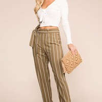 Southern Seas Olive Striped Pants