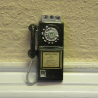 Rotary pay telephone dollhouse miniature