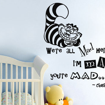 Alice In Wonderland Wall Decals Quotes Cheshire Cat Sticker Viny