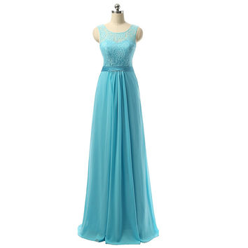 Fast Ship Chiffon Blue Long Cheap Prom Dresses Floor Length Semi Formal Party Dress Lace Top Satin Belt Custom Dress Occasion