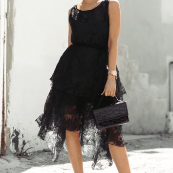 LET ME FEEL HIGH-LOW RUFFLE DRESS