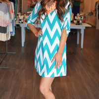 CHEVRON TUNIC DRESS- TEAL