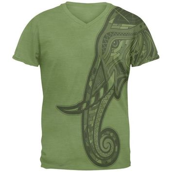 ONETOW Tribal Mosaic Elephant Mens V-Neck T Shirt