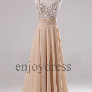 Custom Champagne Beaded Long Prom Dresses Formal Evening Gowns Wedding Party Dresses Party Dresses Bridesmaid Dresses 2014 Cocktail Dress