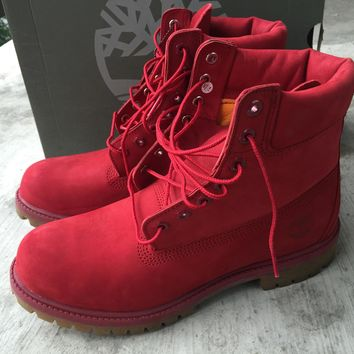 "Timberland Limited Red Monochromatic 6"" Premium Boots Sz. 9.5"