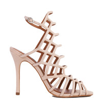 Steve Madden Slithur Caged Blush Nubuck Heeled Sandals