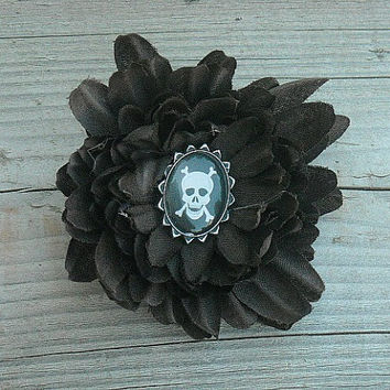 Brown Dahlia Flower Hair Clip with Black Skull by InkandRoses13