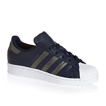 Adidas Originals Superstar Collegiate Navy Leather Youth Trainers