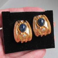 NEW In Box 1992 Vintage Avon Etruscan Faux Lapis & Rhinestone Essentials Treasures Collection Pierced Earrings